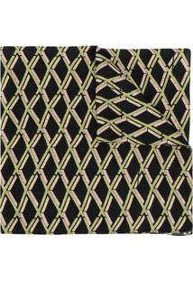 Preen By Thornton Bregazzi Echarpe Com Estampa Geométrica - Preto