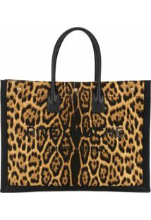Saint Laurent Bolsa Tote Com Estampa De Leopardo - Marrom