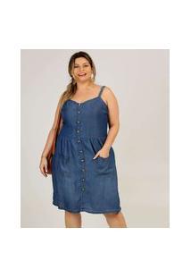 Vestido Plus Size Feminino Jeans Botões Alças Finas