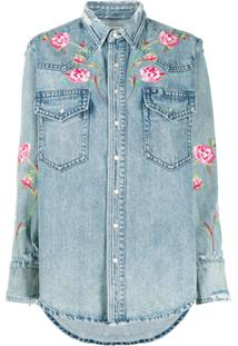Polo Ralph Lauren Floral Embroidered Denim Shirt - Azul