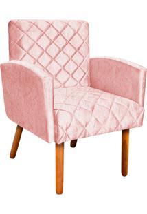 Poltrona Decorativa Veronês Para Sala E Recepção Acetinado Rose - D'Rossi