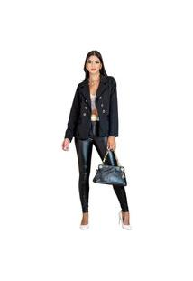 Blazer Casaco Inverno Feminino Elegante Para Frio Corte Alfaiataria Estilo Balmain Preto