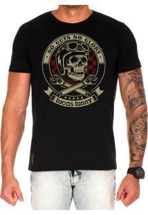 Camiseta Lucas Lunny T Shirt Estampada Caveira Motoqueiro Preto