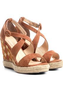 Sandália Couro Anabela Shoestock Plataforma Com Bordado Feminina - Feminino-Caramelo