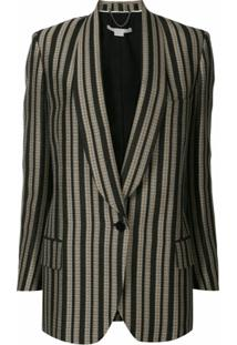 Stella Mccartney Blazer Com Listras E Abotoamento Simples - Marrom