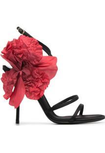 Dolce & Gabbana Sandália Com Aplicação Floral - Preto