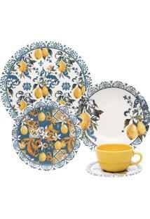 Aparelho De Jantar/Chá 30 Peças Oxford Unni Siciliano Azul/Amarelo
