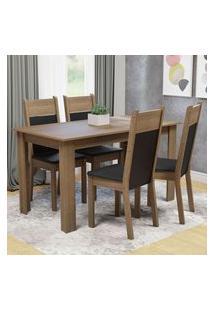Conjunto Sala De Jantar Madesa Cali Mesa Tampo De Madeira Com 4 Cadeiras Rustic/Preto/Sintético Preto Rustic
