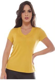 Blusa Decote V Transparente Manga Curta Amarelo