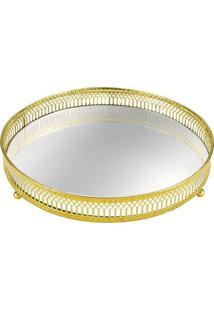 Bandeja Mart Com Espelho Victorine 6545 24,5X24,5Cm Dourado