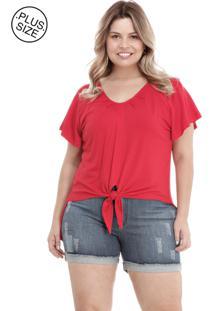 Blusa Melinde Plus Size Mullet Nó Vermelha - Kanui