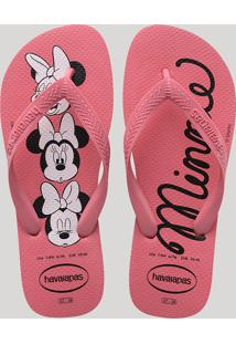 Chinelo Feminino Havaianas Top Minnie Estampado Rosa