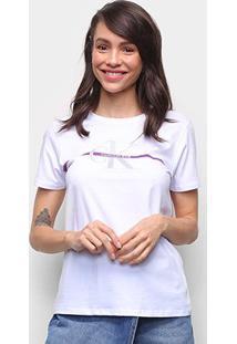 Camiseta Calvin Klein Logo Feminina - Feminino-Branco