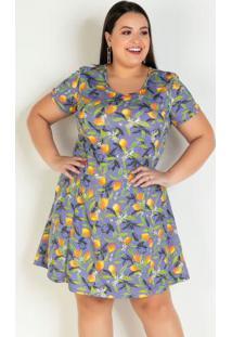 Vestido Curto Frutas Com Gota Plus Size