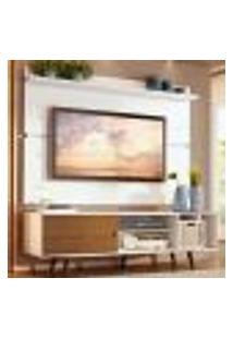 Rack Madesa Dubai E Painel Para Tv Até 65 Polegadas Com Pés - Branco/Rustic 9B9B