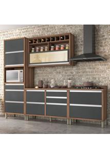 Cozinha Compacta Baronesa 5 Pt 8 Gv Grafite E Marrom