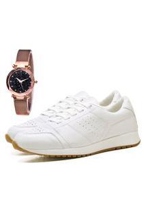 Tênis Sapatênis Casual Elegant Com Relógio Gold Feminino Dubuy 1102-1103La Branco
