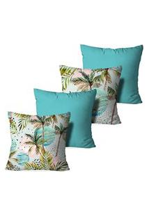 Kit 4 Capas Para Almofadas Decorativas Love Decor Palm Trees Multicolorido