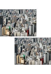 Jogo Americano Colours Creative Photo Decor - Vista Aérea De Prédios Em São Paulo, Sp - 2 Peças