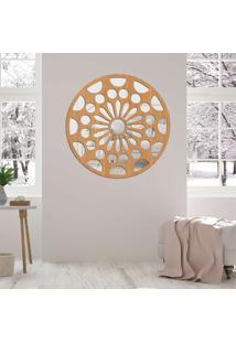 Escultura De Parede Wevans Mandala Floral, Madeira + Espelho Decorativo