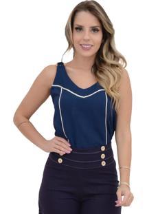 Blusa Mamorena Alcinha Com Argola Detalhe Vivos Azul Marinho