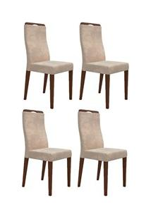 Kit 4 Cadeiras Para Sala De Jantar Luciana Bege D08 - Mpozenato