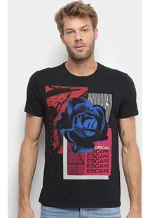 Camiseta Ellus Tropical Escape Masculina - Masculino-Preto