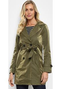 Casaco Trench Coat Doce Trama Sarja Feminino - Feminino-Verde Militar