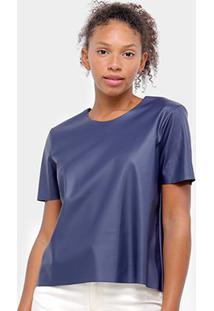 Blusa Aura T-Shirt Couro Feminina - Feminino-Marinho