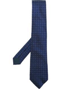 Lanvin Gravata De Seda Com Bordado - Azul