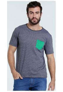 Camiseta Masculina Listrada Bolso Marisa
