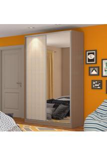 Guarda-Roupa Solteiro 2 Portas Correr 1 Espelho 100% Mdf Rc2004 Ocre/Noce - Nova Mobile