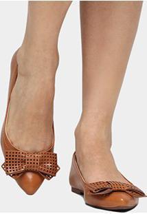 Sapatilha Shoestock Laço Laser - Feminino-Caramelo