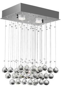 Plafon Crystal Ball Retangular 2 Luzes