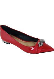 Sapatilha Cecconello Bico Fino Fashion Feminina - Feminino-Vermelho