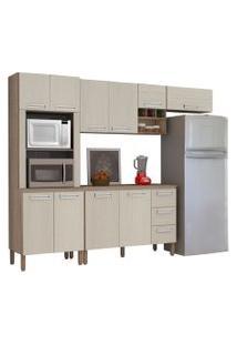 Cozinha Compacta Ametista Com Balcáo 10 Portas Composiçáo 7 Nogal/Arena - Kit'S Paraná