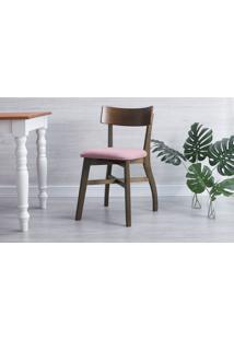 Cadeira De Madeira Para Restaurante Estofada Bella - Castanho E Rosa Tec. A107 - 44X51X82 Cm