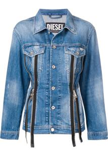 Diesel Jaqueta Jeans Com Zíper - Azul