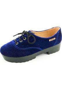 Tênis Tratorado Quality Shoes Feminino 005 Veludo Azul Marinho 36
