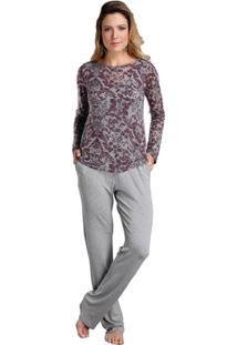 32eefde6f Pijama Longo Inspirate Triplex Devorê Feminino - Feminino-Cinza+Vinho