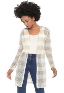 Cardigan Dress To Tricot Ponto Tela Off-White/Bege