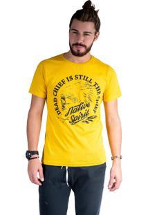 Camiseta Mister Fish Estampado Native Spirit Mostarda