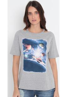 Blusa Planetas Com Recortes- Cinza & Azul Escuro- Mamalwee