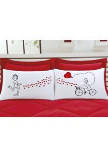 Fronhas Divertidas Amor Padrão Emoções Bicicleta De Corações Estampado Com 2 Peças - Aquarela