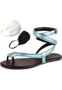 Sandalia Rasteira Mercedita Shoes Cobra Azul + Brinde - Tricae