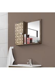 Espelheira Para Banheiro Móveis Bechara Gênova Madeira Rústica 3D
