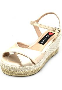 Anabela Love Shoes Salto Médio Corda Cruzada Verniz Bege