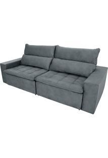 Sofá Retrátil E Reclinável De 4 Lugares Grecco Pillow 2,50M - Ambiente Móveis - Cinza