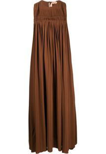 Nº21 Vestido Longo Franzido - Marrom