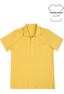 Camisa Polo Masculina Básica Em Piquê Com Bolso